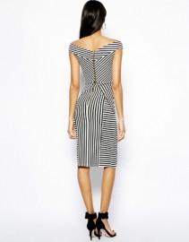 Полосатое черно-белое платье Asos