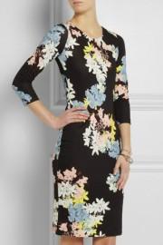 Повседневное черное платье с цветочным принтом Roberto Cavalli