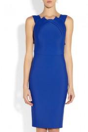 Синее платье-футляр с округлым вырезом Victoria Beckham