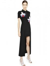 Черное платье с вышитыми орхидеями Fendi