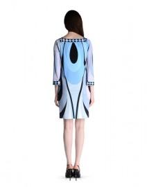 Голубое повседневное платье с модным принтом Emilio Pucci