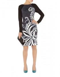 Атласное серое платье с черными рукавами Karen Millen