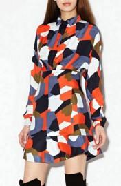 Цветное шелковое платье с длинным рукавом Paul & Joe