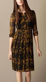 Шелковое желтое платье с длинным рукавом Burberry