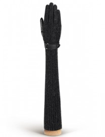 Длинные кожаные женские перчатки (шерсть и кашемир) IS06830 black (Eleganzza)