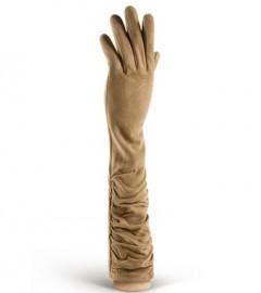 Длинные кожаные женские перчатки подкладка из шелка IS02010 taupe (Eleganzza)