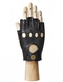 Кожаные автомобильные перчатки без пальцев HS012W black (Eleganzza)