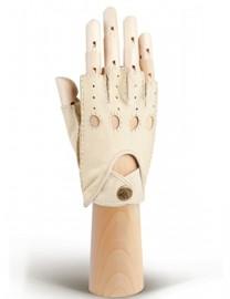 Кожаные автомобильные перчатки без пальцев HS102W beige (Eleganzza)