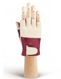 Кожаные перчатки для вождения без пальцев HP508W bordo/beige (Eleganzza)