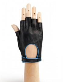Кожаные женские перчатки подкладка из шелка IS221W black/l.blue (Eleganzza)