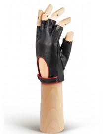 Кожаные женские перчатки подкладка из шелка IS221W black/tomat (Eleganzza)