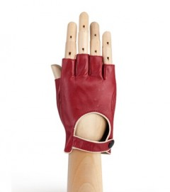 Кожаные женские перчатки подкладка из шелка IS221W bordo/beige (Eleganzza)