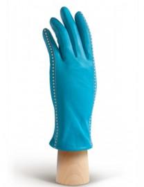 Перчатки кожаные женские подкладка из шелка AND W12FH-2218 turquoise/white (Anyday)