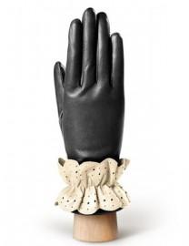 Перчатки женские 100% шерсть IS019 black/ivory (Eleganzza)