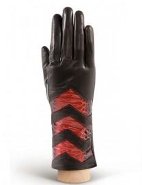 Перчатки женские 100% шерсть IS024 black/bordo (Eleganzza)