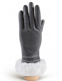 Перчатки женские 100% шерсть IS036 d.grey/white (Eleganzza)