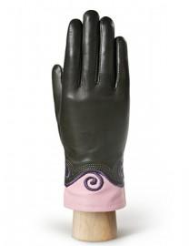 Перчатки женские 100% шерсть IS051 olive/pink (Eleganzza)