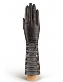 Перчатки женские 100% шерсть IS325 black/grey (Eleganzza)