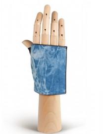 Перчатки женские без пальцев 01180 black/l.blue (Eleganzza)