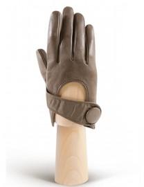 Перчатки женские кожаные короткие подкладка из шелка IS016 taupe (Eleganzza)