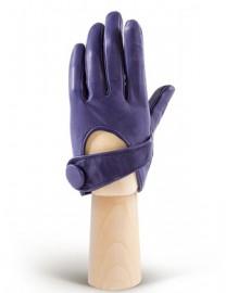 Перчатки женские кожаные короткие подкладка из шелка IS016 violetblue (Eleganzza)