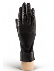 Перчатки женские кожаные с мехом без пальцев IS018 black (Eleganzza)