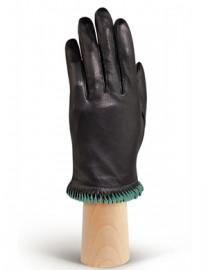 Перчатки женские кожаные с мехом подкладка из шелка IS09304 black/mist (Eleganzza)