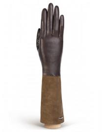 Перчатки женские кожаные (шерсть и кашемир) IS02059 d.brown/taupe (Eleganzza)