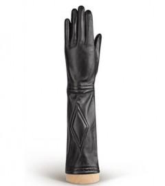 Перчатки женские кожаные подкладка из шелка IS231 black (Eleganzza)
