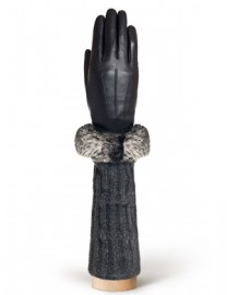 Перчатки женские (шерсть и кашемир) IS01220 black/grey (Eleganzza)