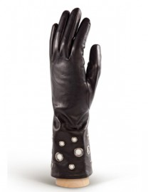 Перчатки женские (шерсть и кашемир) IS0205 black/ivory (Eleganzza)