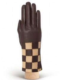 Перчатки женские (шерсть и кашемир) IS0210 brown/beige (Eleganzza)