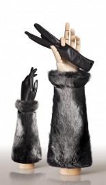 Перчатки женские (шерсть и кашемир) IS59020 black/grey (Eleganzza)