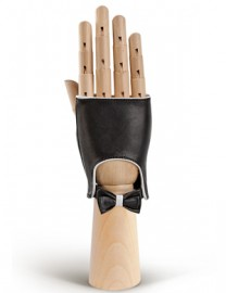 Перчатки женские подкладка из шелка 212 black/white (Eleganzza)