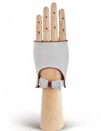 Перчатки женские подкладка из шелка 212 white/brown (Eleganzza)