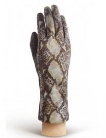 Перчатки женские подкладка из шелка HP210 taupe/yellow (Eleganzza)