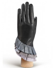 Перчатки женские подкладка из шелка HP323 black/grey (Eleganzza)