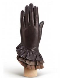 Перчатки женские подкладка из шелка HP323 brown/l.taupe (Eleganzza)