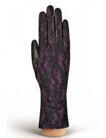 Перчатки женские подкладка из шелка IS01020 black/d.violet (Eleganzza)