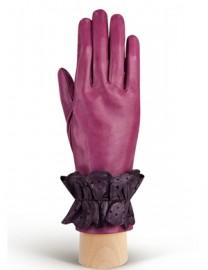 Перчатки женские подкладка из шелка IS019 cranberry/d.violet (Eleganzza)