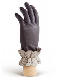Перчатки женские подкладка из шелка IS019 grey/ivory (Eleganzza)