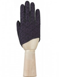 Перчатки женские подкладка из шелка IS02208 black/d.violet (Eleganzza)