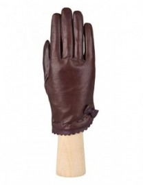 Перчатки женские подкладка из шелка IS02847 brown/d.violet (Eleganzza)
