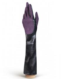 Перчатки женские подкладка из шелка IS08086 black/d.violet (Eleganzza)