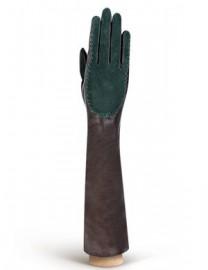 Перчатки женские подкладка из шелка IS08086 d.brown/d.green (Eleganzza)