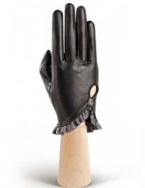 Перчатки женские подкладка из шелка IS501 black/grey (Eleganzza)