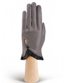 Перчатки женские подкладка из шелка IS501 l.grey/d.grey (Eleganzza)