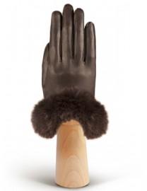 Перчатки женские подкладка из шелка IS632 d.brown (Eleganzza)