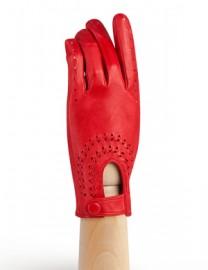 Водительские перчатки кожаные без пальцев IS335 tomat (Eleganzza)