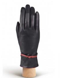 Зимние кожаные перчатки подкладка из шелка AND W12FH-0925-s black/bordo (Anyday)